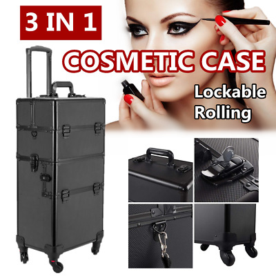 $87.50 • Buy Professional Lockable Large Aluminum Rolling Makeup Cosmetic Case Wheeled Box