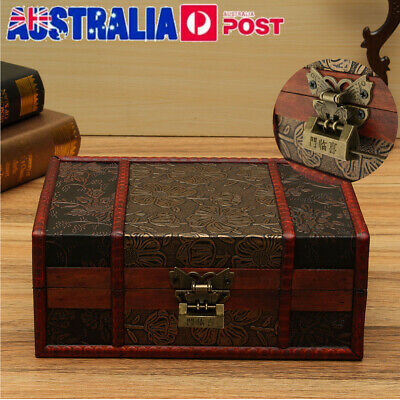AU21.99 • Buy Large Vintage Wooden Storage Box Trinket Jewelry Treasure Lock Chest Home Decor
