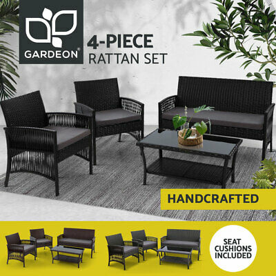 AU295.90 • Buy Gardeon Outdoor Furniture Lounge Setting Rattan Chair Table Garden Wicker Patio