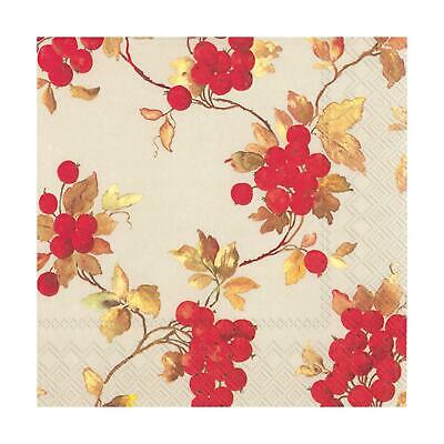 Red Berries Linen Paper Napkins Christmas Lunch Party Xmas Disposable Serviettes • 6.45£