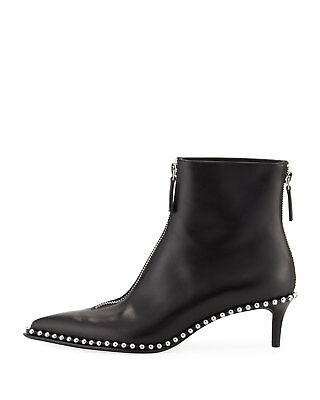 AU982.79 • Buy Alexander Wang Eri Black Leather Ankle Boots With Studs And Zip 37,5(EU)-7½(US)