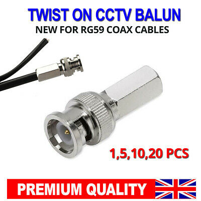 £4.99 • Buy BNC Connector Screw Twist RG59 Male Plug For CCTV Security Camera Cable Jack