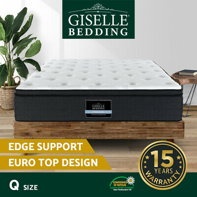 AU259.90 • Buy Giselle Bedding QUEEN Mattress Bed 7 Zone Euro Top Pocket Spring Firm Foam