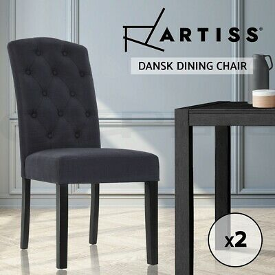 AU189.90 • Buy Artiss 2x Dining Chairs French Fabric Padded Chair Cafe High Back Wood Dark Grey