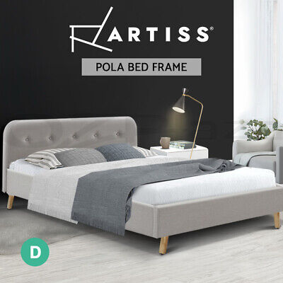 AU89.95 • Buy Artiss Bed Frame Double Full Size Base Mattress Fabric Wooden BEIGE POLA