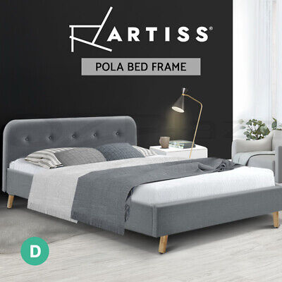 AU89.95 • Buy Artiss Bed Frame Double Full Size Base Mattress Fabric Wooden Grey POLA