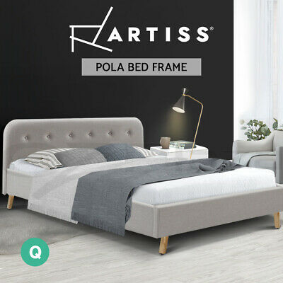 AU179 • Buy Artiss Bed Frame Queen Size Base Mattress Fabric Wooden Beige POLA
