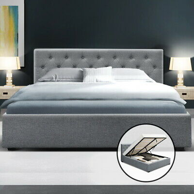 AU169.95 • Buy Artiss Bed Frame Queen Gas Lift Base With Storage Mattress Fabric WARE