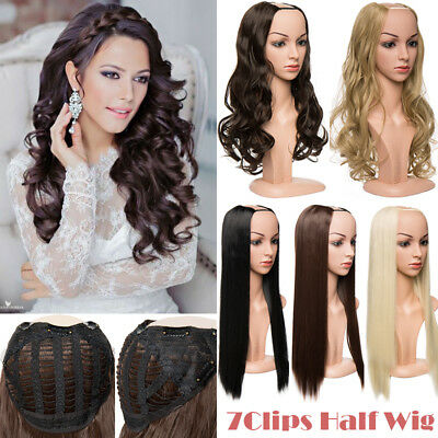 $12.52 • Buy Half Head Wig 3/4 Head Wigs Long Straight Curly Wavy Clip In Hair Piece Ombre KT