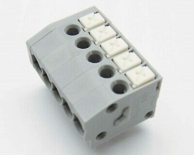 $12.95 • Buy 10 WAGO 805-105 5 Pole 3.5mm 17.5A Push Button PCB Terminal Block 300V 24-16 AWG