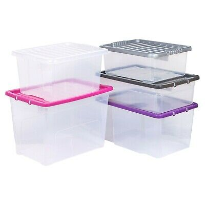 £8.99 • Buy Plastic Storage Boxes Coloured Clip Lid Quality Stackable Container Lightweight