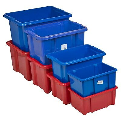 Coloured Plastic Storage Boxes Set High Quality Stackable Container Living Room  • 7.99£