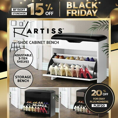 AU64.90 • Buy Artiss Shoe Cabinet Bench Shoes Storage Rack Organiser Shelf Wooden 15 Pairs