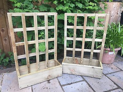 Hand Made Wooden Garden Planter With Trellis, Herb Window Box, Trough (GP1) • 24.99£