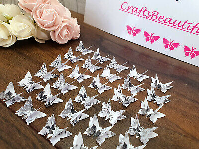 30no 3d Butterfly Grey & White Floral Craft/card/wedding/tags/embellish/cake Box • 0.99£