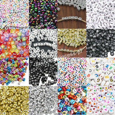 $1.98 • Buy 200pcs Acrylic Alphabet Letter Numbers Spacer Beads For DIY Jewelry Making