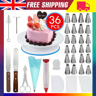 £11.99 • Buy Cake Decorating Equipment Turntable Set Icing Nozzles Spatula Stand Rotating Kit