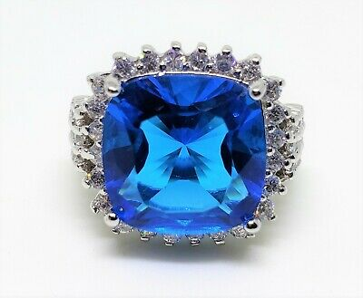 $69 • Buy Charles Winston CWE 925 Sterling Silver Blue Sapphire Simulant & CZs Ring - Sz 7