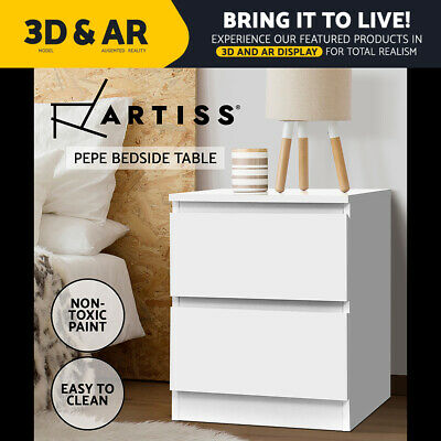 AU59.95 • Buy Artiss Bedside Tables Drawers Side Table Bedroom Furniture Nightstand White Lamp