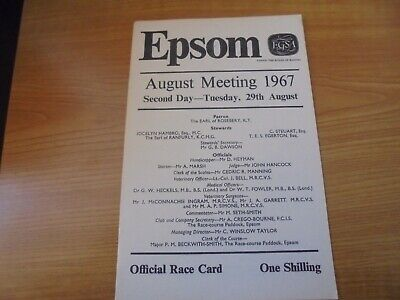 £2.25 • Buy Epsom Race Card August 29th, 1967 - Second Day Of The August Meeting