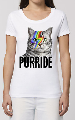 £8.99 • Buy Womens GAY ORGANIC T-Shirt Purride CAT LGBT Face Tattoo Pride Festival Slogan