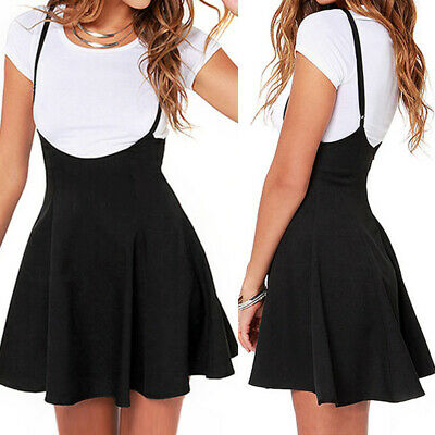AU16.91 • Buy Women Strappy Plus Size High Waist Overalls Pinafore Skirt Mini Skater Dress