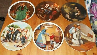 $ CDN25 • Buy 6 X Norman Rockwell Collector Plates 1980's Knowles