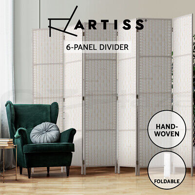 AU125.95 • Buy Artiss 6 Panel Room Divider Screen Privacy Rattan Timber Fold Woven Stand White