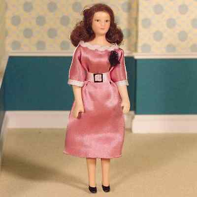 DOLLS HOUSE DOLL 1/12th SCALE MODERN WOMAN  IN  PINK SATIN DRESS • 10.99£