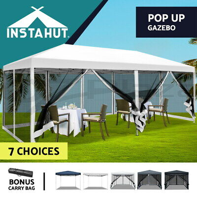AU125.90 • Buy Instahut Gazebo 3x3 Pop Marquee Up Outdoor Gazebos Wedding Tent Mesh Side Walls