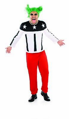 AU44.48 • Buy Mens 90s Rave Starter Costume M L XL Adult Techno Dance Music Singer Fancy Dress