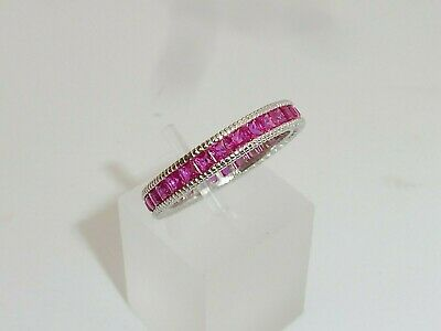 Ladies Hand Made 925 Sterling Silver Princess Cut Red Ruby Full Eternity Ring • 37.25£