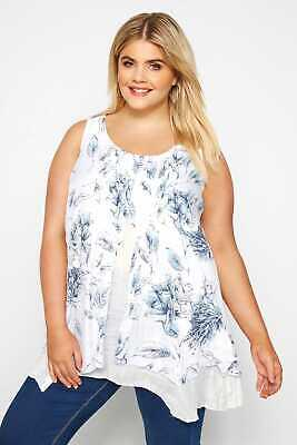 AU22 • Buy Yours Clothing Women's Plus Size White & Blue Floral Double Layered Blouse