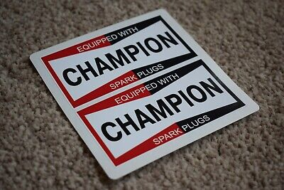 £1.98 • Buy CHAMPION Spark Plugs Classic Race Car Stickers Decals Racing Bike F1 Red 50mm