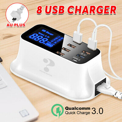 AU32.85 • Buy USB Hub 8 Port Charging Stations Desktop Wall Fast Charger QC 3.0 Type-C Port AU