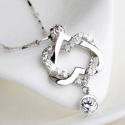 $0.88 • Buy Women Fashion 925 Silver Plated Double Heart Pendant Necklace Chain Love Jewelry