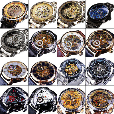 £22.60 • Buy Mens Steampunk Skeleton Stainless Steel Leather Automatic Mechanical Wrist Watch