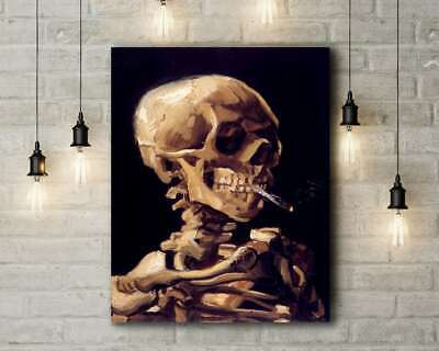 Vincent Van Gogh: Skull With Burning Cigarette. Canvas Art Print • 25.99£