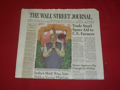 $21 • Buy 2019 May 24 Wall Street Journal Newspaper- India's Modi Wins Strong Mandate Vote