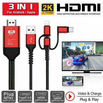 3 In 1 Micro USB Type-C To HDMI 1080P HD TV Cable Adapter For Apple IPhones • 19.99£