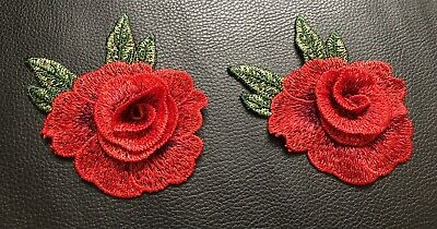 3D 2 Embroidered Red Lace Flowers Motif Trim Applique Patch. • 3.45£