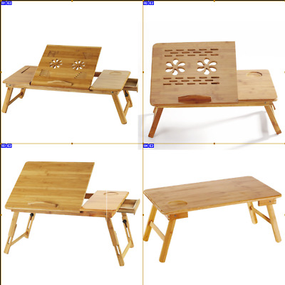 $19.99 • Buy Portable Folding Lap Desk Bamboo Laptop Breakfast Tray Natural Bed Table Stand