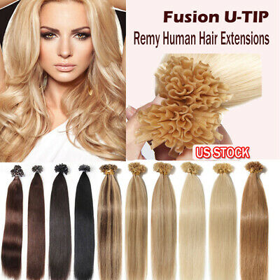 $24.22 • Buy Invisible AAAA+ Pre Bonded Nail U Tip Remy High Keratin Human Hair Extensions