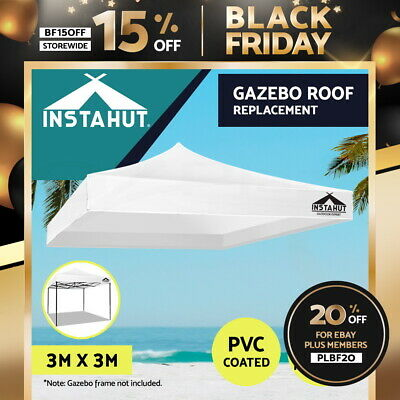 AU42.90 • Buy Instahut Gazebo 3x3 Pop Up Marquee Replacement Roof Outdoor Wedding Tent White
