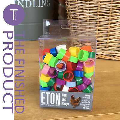 ETON CLIC CLICK LEG RINGS FOR CHICKEN/POULTRY- 16mm PACK OF 100 ASSORTED COLOURS • 11.95£