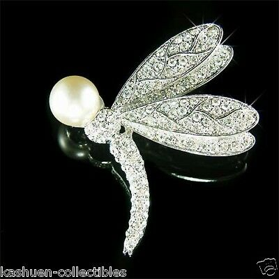 £55.04 • Buy White Pearl DRAGONFLY Made With Swarovski Crystal Bridal Jewelry Pin Brooch Xmas