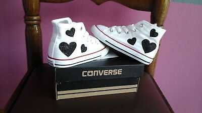 Converse All Star White With Hearts IN Glitter Black • 130.43£