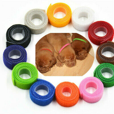 Soft 12 Colors Whelping Puppy & Kitten ID Magic Tape Collar Bands, For Breeders • 3.66£