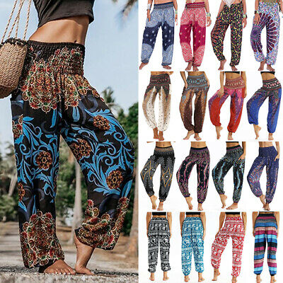 AU25.98 • Buy Women Boho Baggy Gypsy Yoga Harem Pants Floral Loose Aladdin Trousers Plus Size