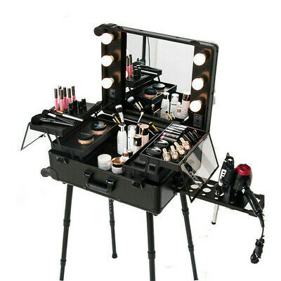 Pro Rolling Makeup Artist Station Train Case Trolley Table Stand With LED Lights • 199.99£